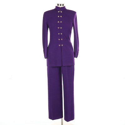 St. John Collection Ponte Knit Pantsuit in Purple
