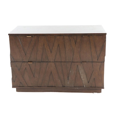 Lexington Sligh Walnut Finish Cross Effect Prism File Chest