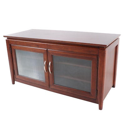 Contemporary Mahogany Finish Media Cabinet