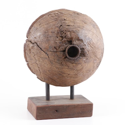Rustic Mounted Carved Wood Wheel Sculpture