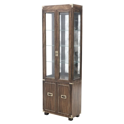 Walnut Veneer Illuminated Display Cabinet, Late 20th Century