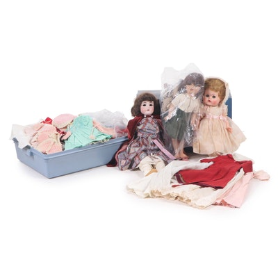 Vinyl and Porcelain Dolls with Extra Clothing, Vintage