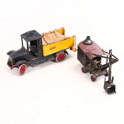 """""""Buddy L"""" Ice Delivery Truck and """"Steelcraft"""" Steam Shovel Toys, Circa 1920s"""