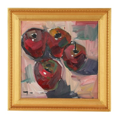 "Jose Trujillo Oil Painting ""Red Apples"""