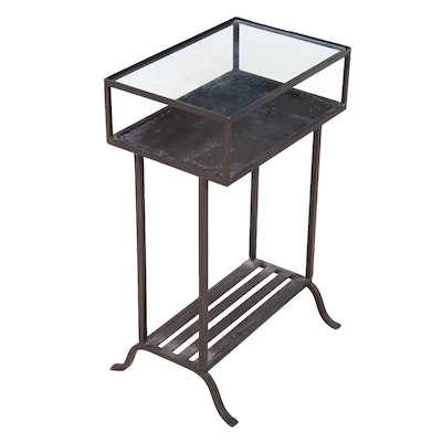 Metal and Glass Side Table, Mid-Century