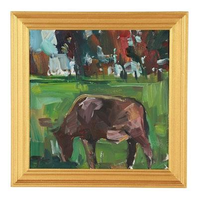"Jose Trujillo Oil Painting ""Grazing"""