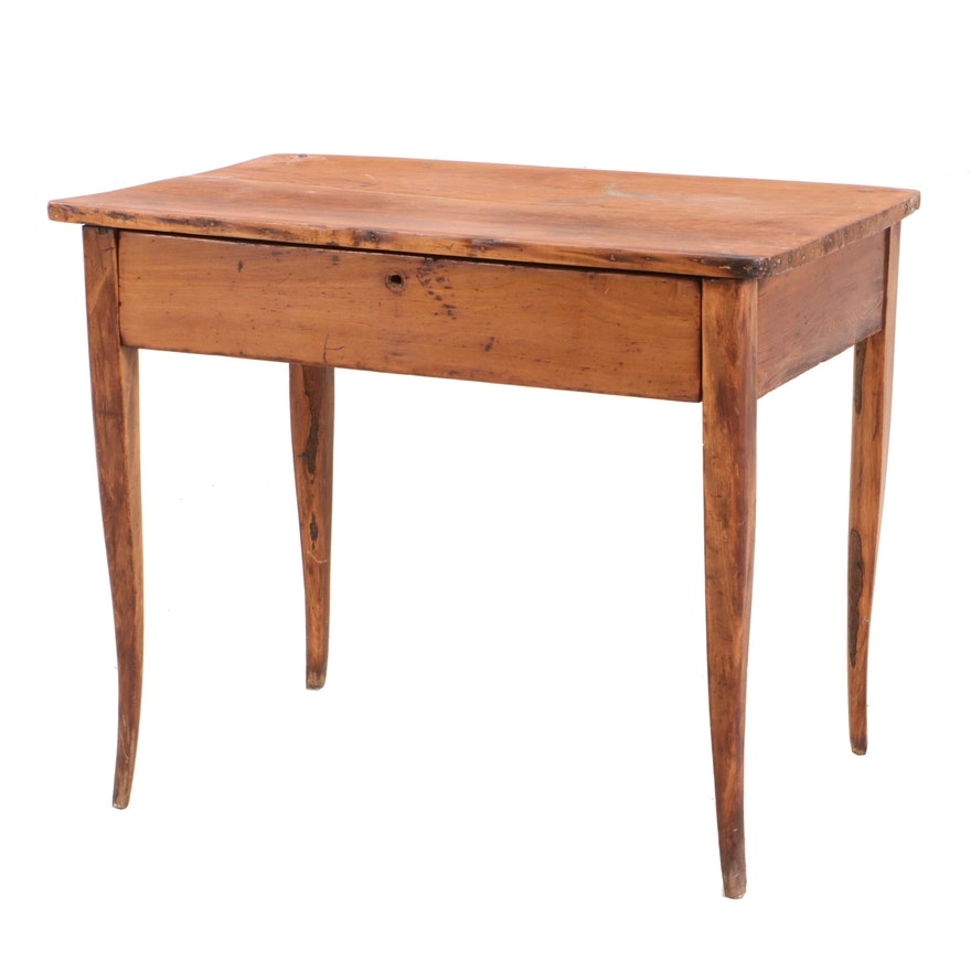 French Provincial Style Pine Table with Full-Width Drawer, 19th Century