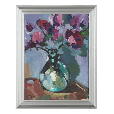 "Jose Trujillo Oil Painting ""Still Life Flowers"""