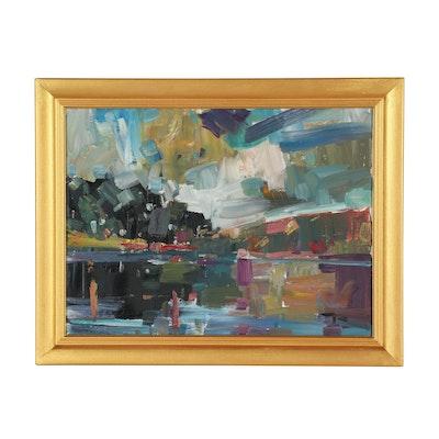 "Jose Trujillo Oil Painting ""Murky Lake"""