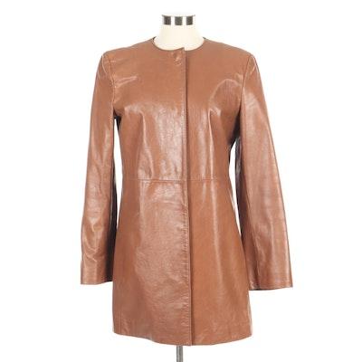 Armani Exchange Cognac Leather Hidden Snap-Front Jacket