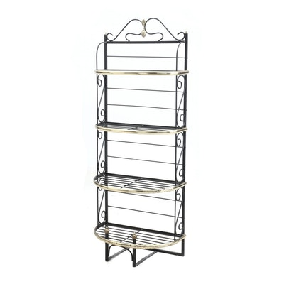 Brass and Wrought Metal French Baker's Rack, Late 20th Century