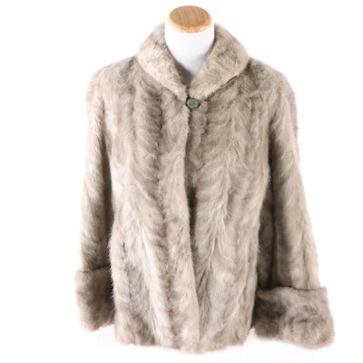 Grey Mink Paw Fur Jacket from Dittrich Furs of Detroit, Vintage