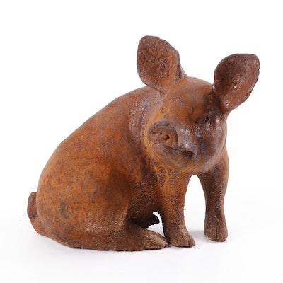 Cast Iron Pig Figurine