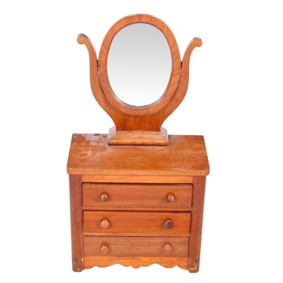 Salesmen's Sample Dresser with Mirror in Walnut, Early 20th Century