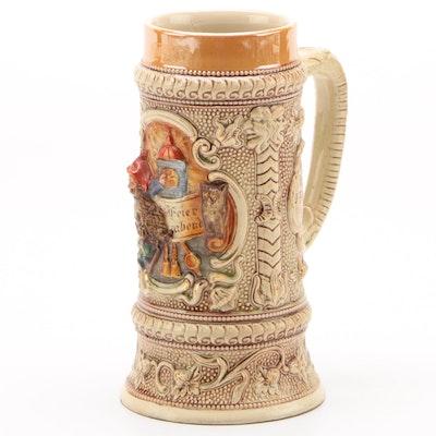 "German ""Feierabend"" 0.5L Glazed Stoneware Beer Stein, Early/Mid 20th Century"