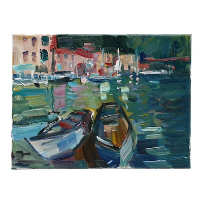 "Jose Trujillo Oil Painting ""Boats on the Dock"""