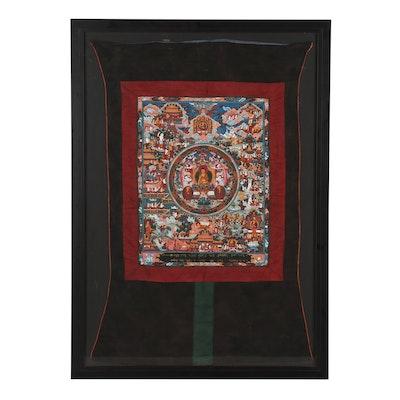 Tibetan Gouache Thangka of Scenes from the Life of Buddha Shakyamuni