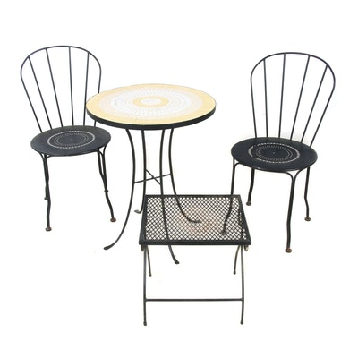 Fermob Pierced Metal Chairs  with Mosaic and Mesh Metal Bistro Tables