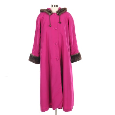 Hooded Magenta Nylon Button-Front Swing Coat with Mink Fur Lining and Trim