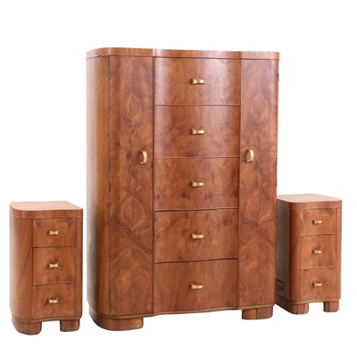 Burled Wood Veneer Chest of Drawers, Mid Century Modern
