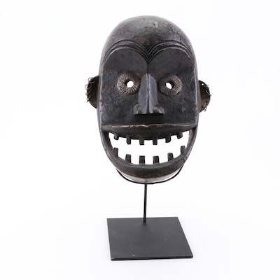 African Tribal Carved Wooden Mask with Earrings