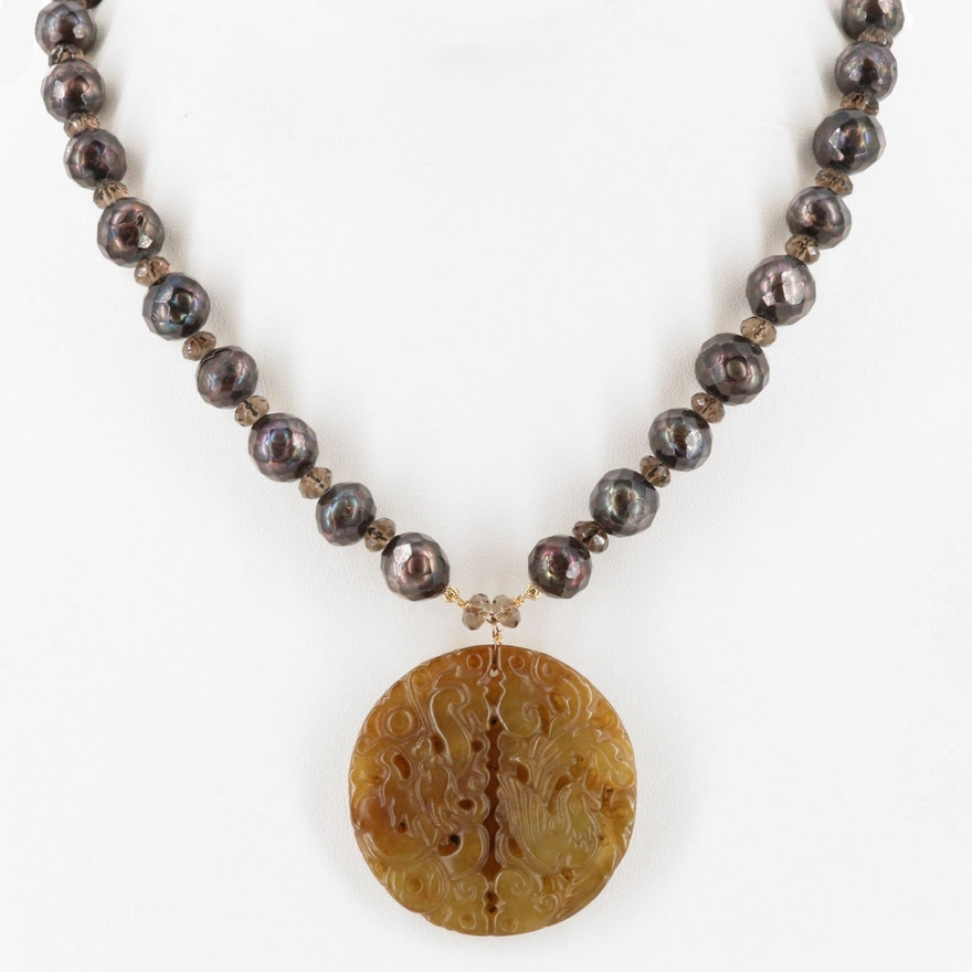 Chinese 14K Serpentine, Faceted Cultured Pearl and Smoky Quartz Necklace