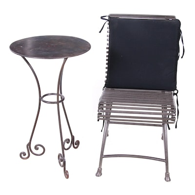 Metal Patio Side Table and Chair, Contemporary