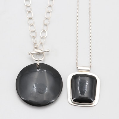 Sterling Silver Black Onyx Pendant Necklaces