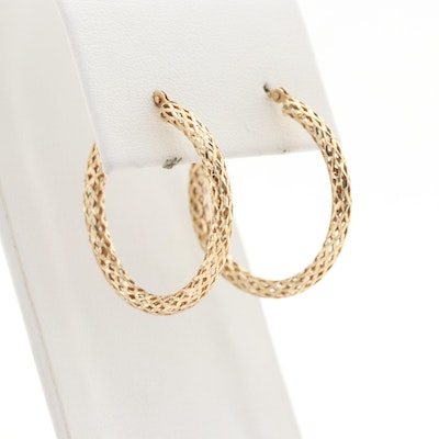10K Yellow Gold Openwork Hoop Earrings
