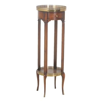 Theodore Alexander Tall Brass Galleried Gueridon Table