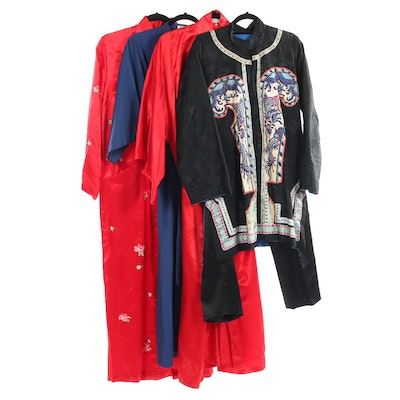 Chinese Embroidered Silk Robes and Two-Piece Set, Vintage