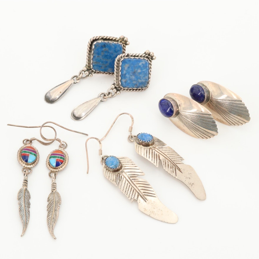 Southwestern Style Sterling Earrings Featuring Stella Smiley Navajo Diné