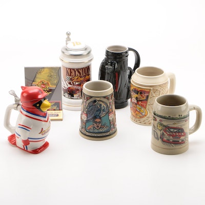Ceramic Sports and Olympics Beer Steins with Miller Tabletop Advertising Sign