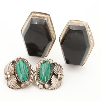 Taxco and Southwestern Style Sterling Silver Malachite and Obsidian Earrings