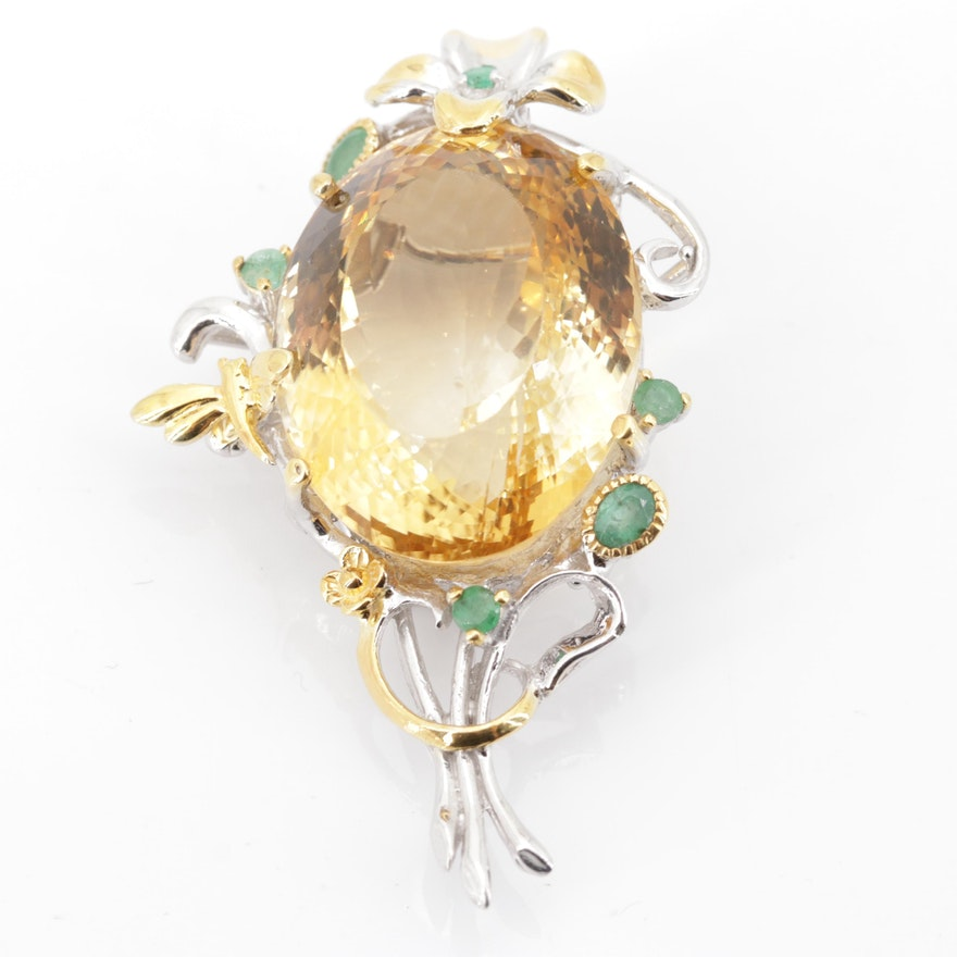 Sterling Silver 55.97 CT Citrine and Emerald Pendant