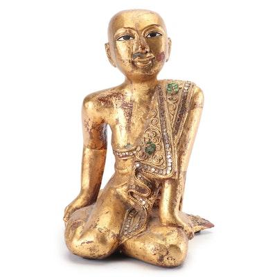Thai Giltwood Buddhist Temple Monk Statuette