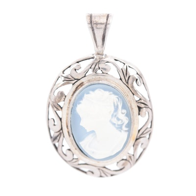 Jezlaine Sterling Silver Carved Onyx Cameo Pendant