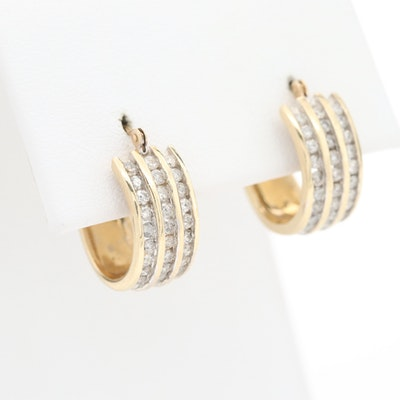10K Yellow Gold 1.05 CTW Diamond Hoop Earrings