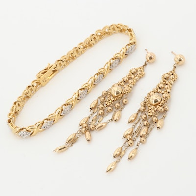 "Vintage Gold Filled Chandelier Earrings and Diamond ""X"" Link Bracelet"