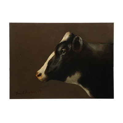 David Andrews 2019 Cow Portrait Oil Painting