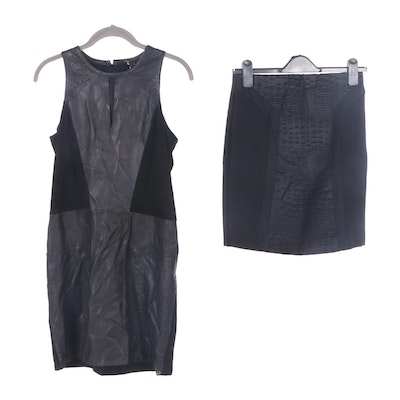 Maje Bodycon Sleeveless Dress and Croc Embossed Pencil Skirt
