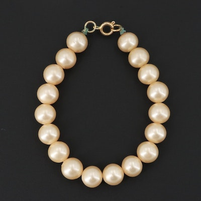 Gold Tone Imitation Pearl Beaded Bracelet