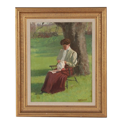 """George W. Picknell Oil Painting """"Seated Lady"""""""