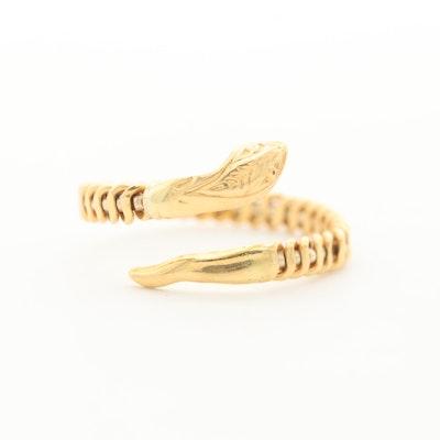 18K Yellow Gold Snake Wrap Ring