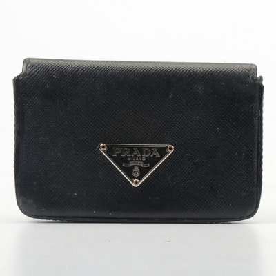 Prada Saffiano Leather Business Card Holder in Black