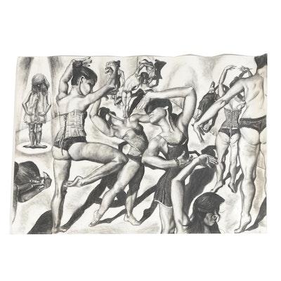 "Kieran Rae Koch Charcoal Drawing ""Heaven/Hell"", 2013"