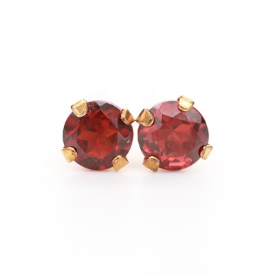 10K Yellow Gold Garnet Stud Earrings