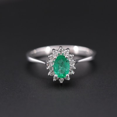 14K White Gold, Emerald and Diamond Ring