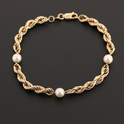 14K Yellow Gold Cultured Pearl Station Bracelet