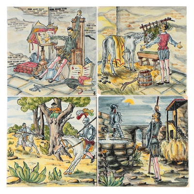 Hand-Painted Ceramic Tiles with Don Quixote Scenes, Late 20th Century